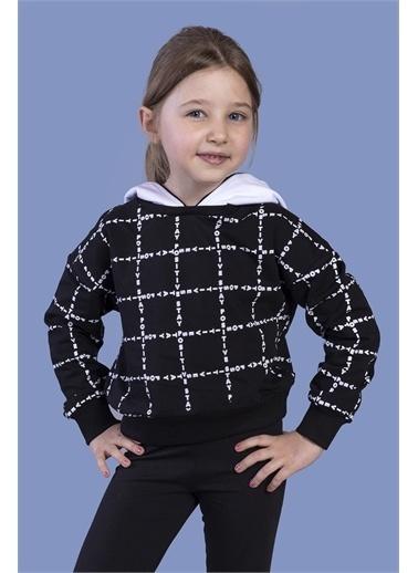 Toontoy Kids Toontoy Kız Çocuk Crop Model Kapüşonlu Komple Baskılı Sweatshirt Siyah